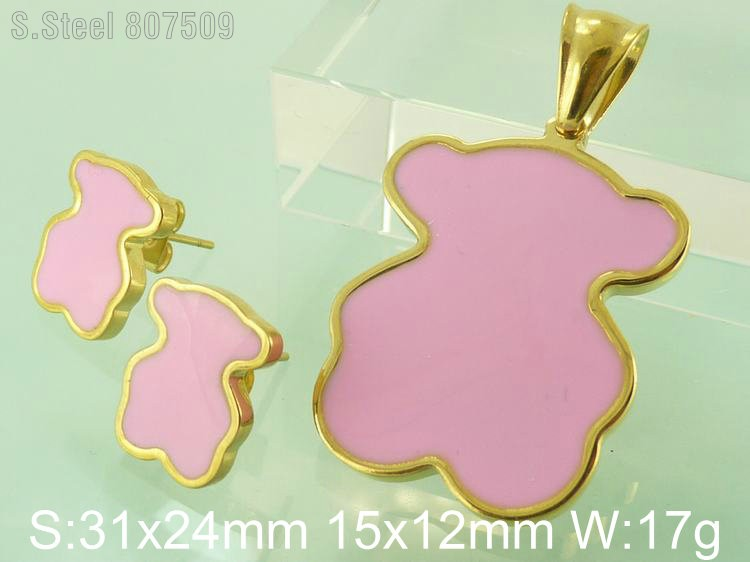 Pink Color Bear Accessories Hot Sale Fashion Stainless Steel Jewelry Pendant And Earrings Sets Supernova Sales F5S4342(China (Mainland))