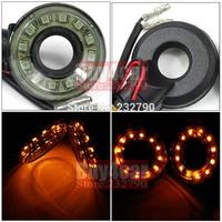 2x Mini Motorcycle Round LED Turn Signal Indicator Light 12SMD Amber Flash Light #3542*2
