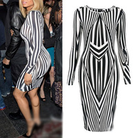 Fashion Womens Black White Print Geometric Stripe Bodycon Pencil Midi Dress