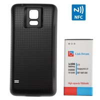 Link Dream High Quality 7800mAh Mobile Phone Battery with NFC & Black Scrubs Cover Back Door for Samsung Galaxy S5 \ G900