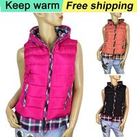 2015 winter new lady fake two cotton shirt-style cotton vest  women Female fashion plaid jacket vest Free Shipping 665