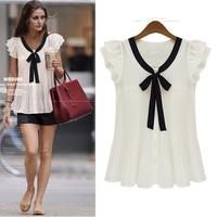 Free Shipping2014 new women's summer shirt  women's bowknot Chiffon Blouse casual  wild S-XXXL
