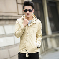 2014 Autumn Men's Hooded Slim Fit College Jacket Casacos Masculinos Jaqueta