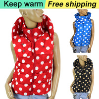 Free shipping 2014 autumn winter new dot pattern women cotton jacket vest Fashion Special red blue black hat vest big size 862