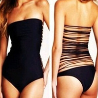 2014 bandage Vintage Swimwear Sexy One Piece Biquinis Black Swimsuit For Women Beach wear Secret Brand Bathing Suits Hot