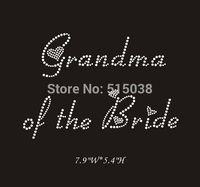 DHL Free shipping 25pcs/Lot Grandma of the Bride hot fix rhinestone iron on transfers motif