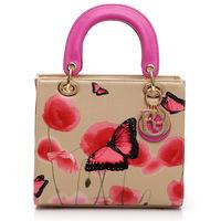 Hotsale 2014 Top Fashion Women Lady Flower Print Real Leather Diana Princess Handbag Shoulder Tote Messenger Bag Freeshipping