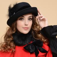 Fashion queen woolen wide brim caps women winter dome hats high quality women autumn roll-up hem fedoras free shipping