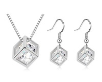 Clear Cube Austrian Crystal Necklace & Earring Jewelry Set Fashion Particular Wedding Anniversary Party Birthday Gift