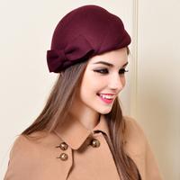 2015 elegant women winter woolen beret hats female fashion small dome fedoras bow decoration beautiful hats free shipping