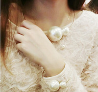 Fashion Trendy Pearl Necklace and Bangles Bracelet Jewelry Set Hight Quality Free Shipping