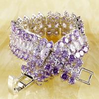 Wholesale Estate Fashion 925 Silver Lady's Gift Oval Cut Tourmaline & Amethyst 925 Silver Bracelets Jewelry