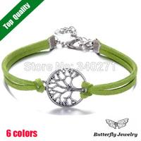 Cheap Fashion Hope Tree Bracelet Bangle Jewelry Charm Leather Bracelet For Women Wholesale($2 Off Per $12)