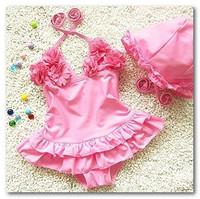 Fashion girls floral falbala skirt swimwear children spa swimwear kids Siamese swimsuits have hats yellow blue pink 7043-2
