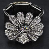 Wholesale 2014 New Hot Sale Europe Jewelry Rhinestone Flower Bangle Vintage Jewelry Luxury Women Cuff  Indian Bracelet