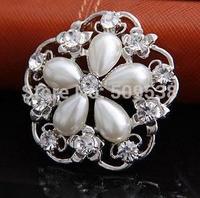 Hot Sale Brooch Pins Pearl Flower Brooches Rhinestone Pins   2014 Korea