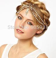 Vintage Gothic Crystal Pearl Tassel Chain Crown Style Headwear Hair Accessories Wholesale Price