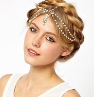Vintage Gothic Crystal Pearl Tassel Chain Crown Style Headwear Hair Accessories Wholesale Price