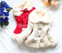 Free Shipping 2014 new arrive Thickened imitation girl wool blends kawaii girl winter fleece jacket wool coat  3pcs/lot