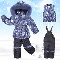 2015 Winter brand thick Baby sets Coat + vest + Bib Plus velvet boy girl  Warm suit cloting 2 colors Free Shipping F01