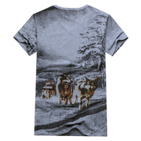 2014 summer new fashion men's brand of wild wolves snow V -neck short sleeve t-shirt Men's t-shirts wholesale