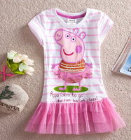 2014 2-6 Age New Summer Girl Dress Peppa Pig Clothing Kids Tutu Lace Child Dress Girl Dresses Princess Baby Wear Flower For Girl