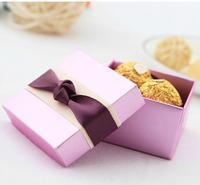 50pcs lot  Wedding Candy Bags Lots Paper light pueple silk ribbon handmade  Cardboard creativity  gift box free shipping