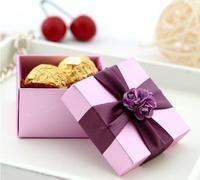60pcs lot  Wedding Candy Bags Lots Paper light pueple bowknot  handmade  European Cardboard creativity  gift box free shipping