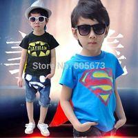 2014 summner new baby boys superman batman shirts tops boys short sleeve black blue t shirt Children's Shirts  accept size pick