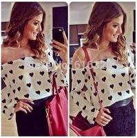 CS4163 New Fashion Loose Blouse Women Long  Lantern Sleeve O-Neck  Printing Sexy Women blouse