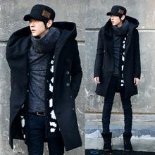 Men's winter coat Korean version of the Slim long coat male  models  thick hooded windbreaker men 2014  free shipping(China (Mainland))