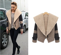 Free shipping 2014 Autumn And Winter New Fashion Women's Slim Wild Lamb's Thick Patchwork Plus Size S/M/L/XL Wool blended Coat