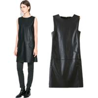 free shipping Fashion women's PU skirt basic one-piece dress female Simple leather sleeveless dresses Hot sales brand