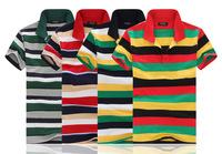 2014 summer new men's fashion trend striped shirt lapel four-color striped men's t-shirts male famous brand 2014 wholesale