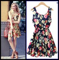 women summer dress New Hot summer dress 2014 cozy casual dress elegant vintage print dress waist chiffon flower plus size WAQIA