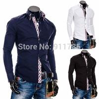 new 2014 Men's Slim fit Unique double collar design Dress long Sleeve plaid Decorate Shirts Men dress shirts  M-XXL,8690