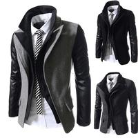 New Men 2014 Sweater PU Leather Collar Sweater Personalized Baseball Stitching Clothes Man Jacket Plus Size M-XXL free shipping