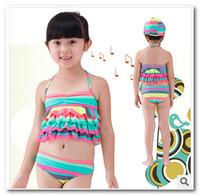 Summer kids Swimwear baby girls Rainbow stripe 3pc split Frilly swimwear (have hats) children swimsuit in stock 7014