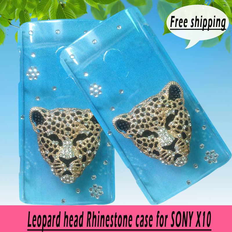 For Sony Ericsson Xperia X10 X 3D Leopard head Rhinestone case cover ,Crystal Diamond Hard Back Case , 2 colors ,free shipping(China (Mainland))