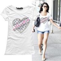 New Arrival hot sale 2014 summer women T-shirt beading diamond heart pattern short-sleeve cotton tops for women t-shirts