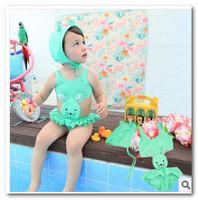 Cute Swim Cap+girls swimsuit 2pcs sets swim pool swimsuits Rabbit girls swimsuits baby bikini swimwear7005