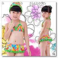 New children's 3pc swimsuit baby girls Colorful Heart Frilly bikini kids split swimwear spa beachwear 5pcs/lot 7016