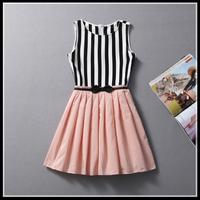 women summer dress New Hot Fashion summer dress 2014 cozy casual elegant catwalk Nibbbuns high-end stripe dress black ball gown