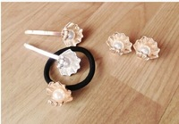 5pcs/lot Free shipping 2014 new design The metal shell pearl hairpin,Hair Accessories