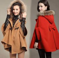 New 2014 Winter Fashion Womens Blue/Ai\ricot/red/Camel Batwing Cape Wool Poncho Jacket Winter Warm Cloak Coat Free Shipping