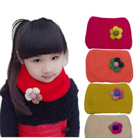 Autumn and winter candy double layer flower girls collars yarn scarf knitted muffler children scarf