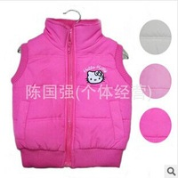 Retail 2014 New Spring and Autumn  Children's Outerwear girl's hello kitty  vest , children's 100% cotton coat,three colors