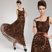 2014 new arrive lady long dress loose-waisted o-neck women leopard color dresseshigh quality long dress free with belt AL-136
