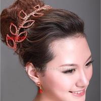 The latest large red bridal wedding tiara jewelry rhinestone leaf edges pretty significant female temperament Crown