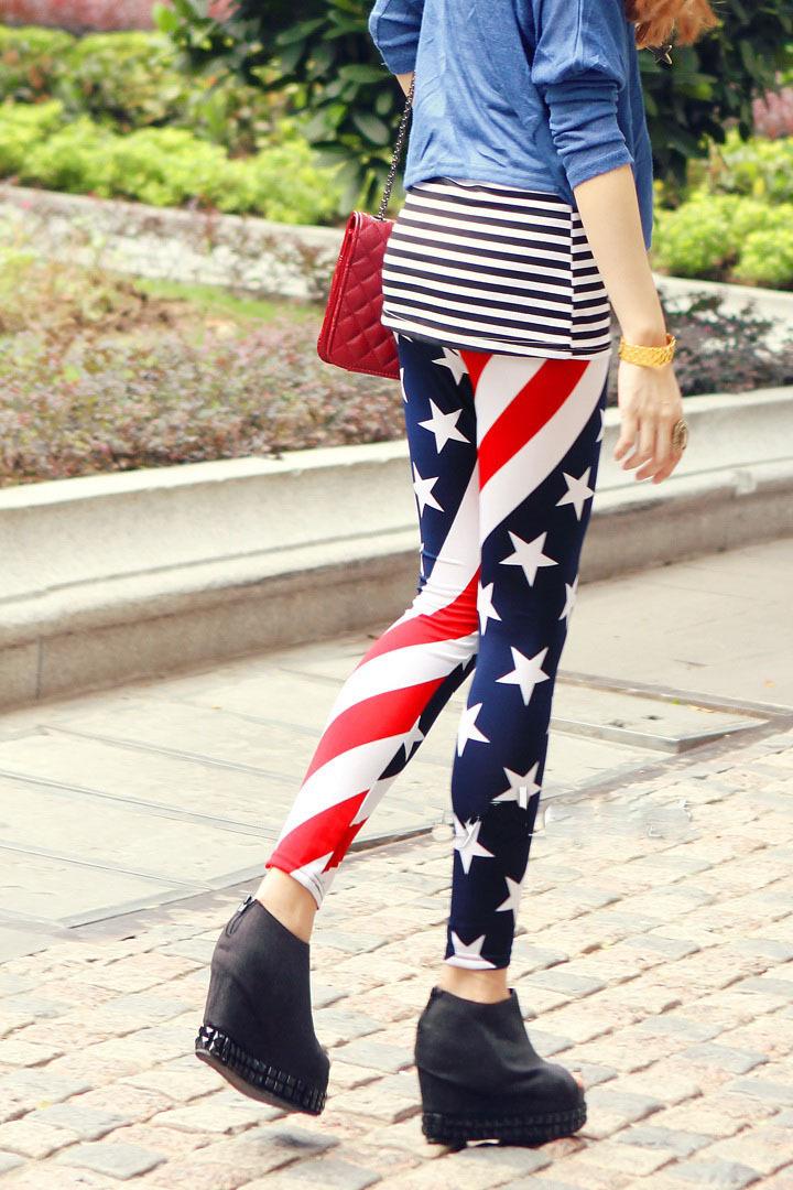 Free Shipping 2014 New Fashion Women American Flag Leggings Sport Leggings Nine Leggings Plus Size Leggings(China (Mainland))